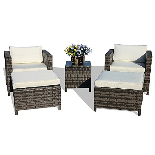 Patiorama 5-Piece Patio Conversation Set Outdoor Chairs and Ottomans Sets PE Wicker Grey Rattan 5 Piece Patio Set, White Cushion & Glass Coffee Table