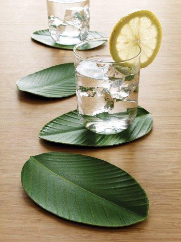 Design Ideas Bali Hai Drink Coasters Set of 4 Leaf Shape Green Eva Foam