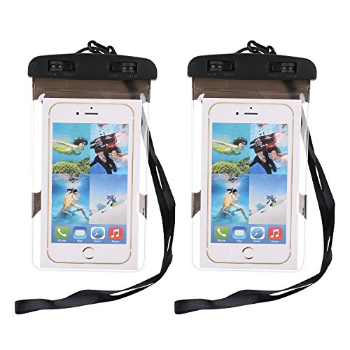(Waterproof Case,ABLEWE Two Pack Waterproof Phone Pouch Dry Bag for iPhone X iPhone 8/8 Plus 7/7 Plus 6/6S Plus Samsung Galaxy S8 S7 S6 Edge and Other Phones up to 6