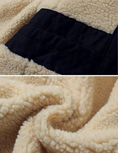 WenVen Homme Veste Chaude Coupe-Vent Manteau en Polaire Sherpa Epaissie Parka d'hiver Classiques Manteau d'Extérieur à…