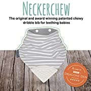 The Original Chewy Teething Bib : Super Absorbent Reversible Bandana Drool Bib For Teething Babies. Food-Grade Silicon Teethers are BPA and Phtalates-Free | Gray Stripes Neckerchew by CHEEKY CHOMPERS