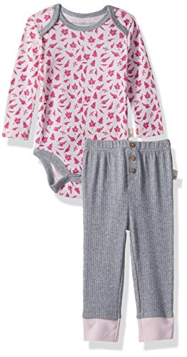Burt's Bees Baby Unisex Bodysuit & Pant Set, 100% Organic Cotton, Azalea Sketched Leaves, 18 Months (Apparel Azalea)