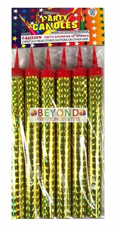 6 ct Sparkling candles Birthday Wedding Bottle Party Gold Candles Four-Seasonstore