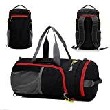 Sports Duffels, P.KU.VDSL Foldable Travel Duffel Bag, Water Resistant Nylon Gym Bags, Multifunction Shoulder Handbag, Lightweight Luggage Duffle Backpack, Sports Gym Totes