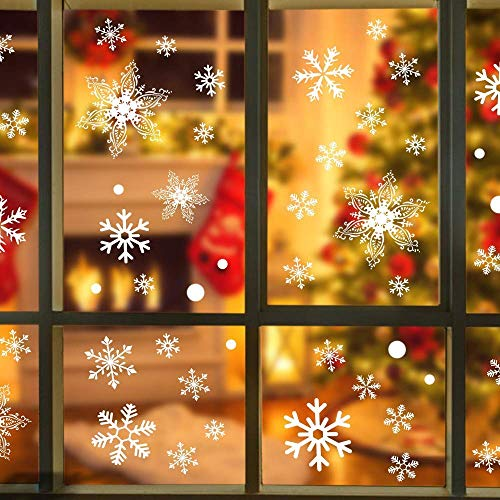 Kaqulec Christmas Decorations Window Cling- Indoor Outdoor Ornaments Snowflakes Sticker 108pcs White Snow Stickers Winter Wonderland for Home Office Xmas Party Supplies(4 Sheets) (White+Red) ()