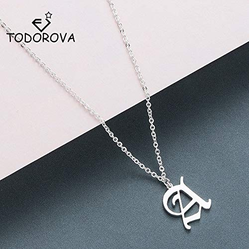 Goonpetchkrai.rapat7498 Necklaces & Pendents Old English Custom Capital Initial A-Z Letter Pendant Necklace Men Vintage Font Personalized Necklace Women Jewelry ()