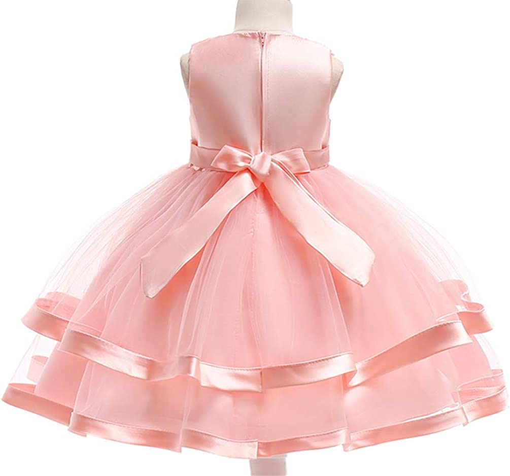AIgogo Girls Flower Dresses for Wedding Party Pageant Tulle Princess Dress 3-9 Years