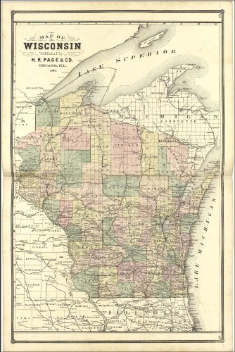 Wisconsin Antique Map (24x36 Poster; Map Of Wisconsin 1885; Antique Reprint)