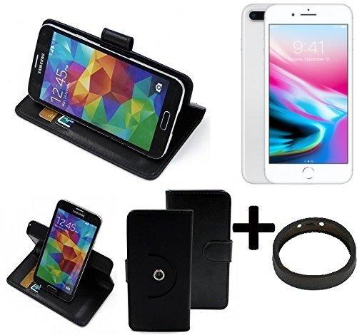 TOP SET: Case 360° Cover pour Smartphone Apple iPhone 8 Plus, noir + protection de anel | Fonction Stand Case Wallet BookStyle meilleur prix, la meilleure performance - K-S-Trade (TM)