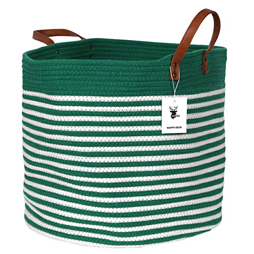 Happydeer Cotton Rope Storage Basket Large Size Green Mixed White Dia17 H15, PU Leather Handle, Blanket Storage Basket, Washing Basket, Toy Storage, Nursery Hamper,Storage Bins