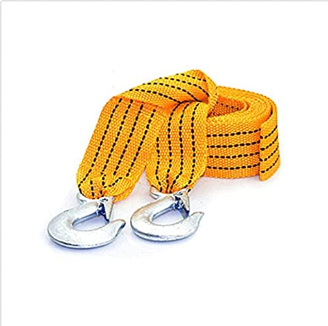 Car Emergency 3-Tons-4M-Car-Tow-Rope-Cable-Towing-Strap-Hooks-Emergency-Heavy-Duty-Car-Tool 13 Feet (4 Meter), 6600 LB (3 Tons) Nylon - Tow Rope Hook