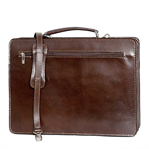 With p Shoulder Leather Bag 39 w Brown Cm 11 File 29 2027 D Laptop H Strap Mod Italy Business zgIgw