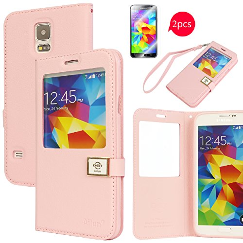 Galaxy S5 Case,[2PCS HD Screen Protectors]By Ailun,Samsung Galaxy i9600 Case,Window-View Case,PU Leather Case,Flip Cover Case[Pink]