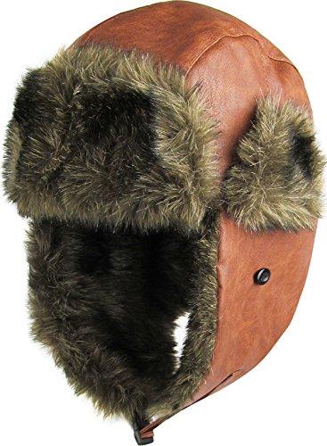 KBW-607 TIM PU Faux Leather Aviator Trooper Trapper Hat Winter Cap
