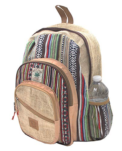 KayJayStyles Natural Handmade Large Multi Pocket Hemp Nepal Backpack
