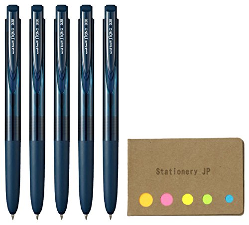 Uni-ball Signo RT1 Retractable Gel Ink Pen, Micro Point 0.38mm, Rubber Grip, Blue Black Ink, 5-Pack, Sticky notes Value Set ()