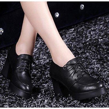 DESY Mujer Botas Confort Pump Básico Cuero real PU Invierno Casual Negro 25 - 45 cms black