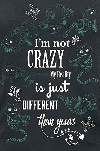 Alice Pays Des Merveilles Le Chat Du Cheshire I M Not Crazy Top Femme Noir M Amazon Fr Vetements Et Accessoires