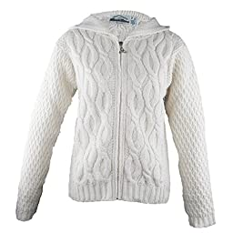 100% Irish Merino Wool Ladies Hooded Aran Zip Sweater by West End Knitwear