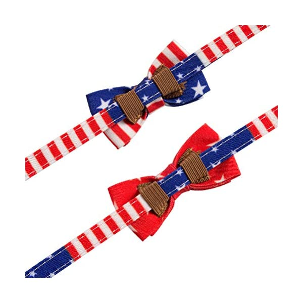 PAWCHIE American Flag Cat Collars Breakaway, 2 Pack Bow Tie Collar for Cats with Bell, Adjustable 3