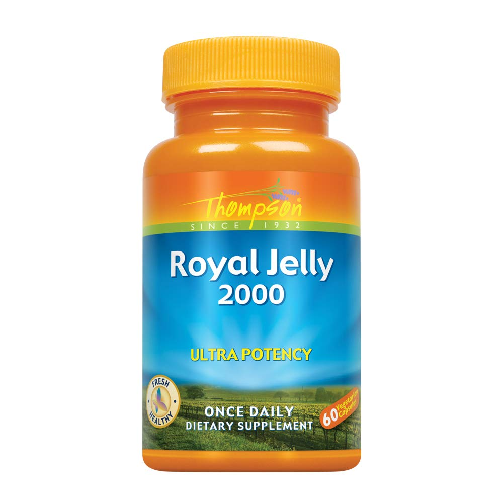 Thompson Royal Jelly Ultra Potency, 2000 Mg   Protein-Based Bee Product   Natural Source of Trace Vitamins & Minerals   60 Vegetarian Capsules