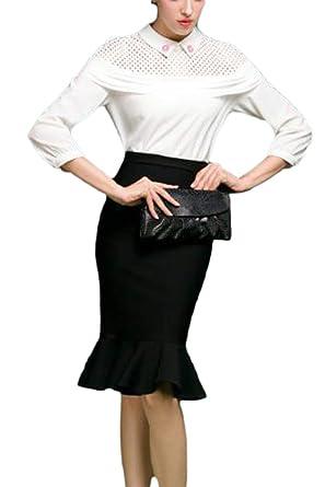 Zinmuwa Faldas De Mujer Midi Lápiz Trabajo Cola Falda Negocios ...