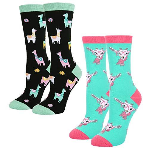 Women's Girls Novelty Crazy Cute Funny Llama Goat Cotton Crew Socks