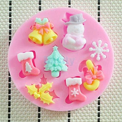 Kicode Calcetines del árbol de navidad 3D Torta del molde de silicona El moho Suger pasta de azúcar Herramienta de hornear DIY