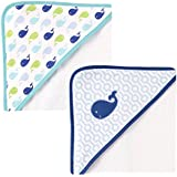 Luvable Friends Hooded Towel 2-Pack, Pink Whale