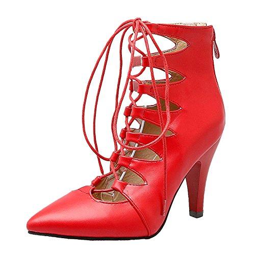 Carolbar Kvinners Blonder-up Spiss Tå Zip Sexy Stilettos Sommer Boots Red