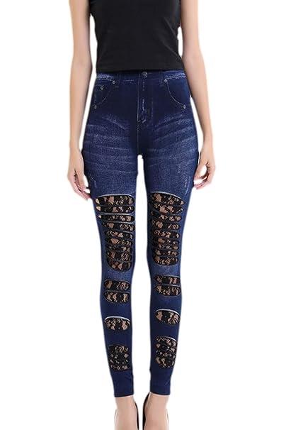 Pantalones Vaqueros para Mujer Cintura Alta Tight Splice ...