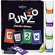 DUNZO - Party Version of Classic Card Game with 4 Unbreakable Shot Glasses - Draw Two, Skip, Reverse, Get Loco