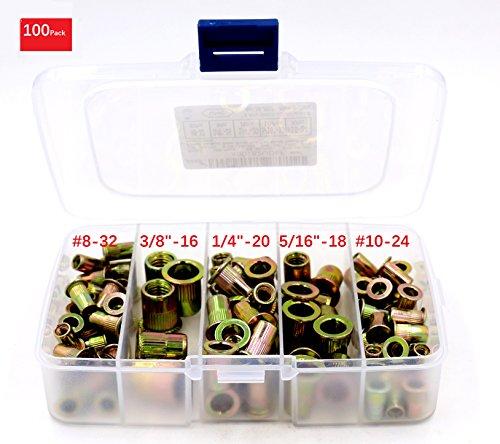 iExcell 100-Pack #8-32UNC #10-24UNC 1/4'-20UNC 5/16'-18UNC 3/8'-16 UNC Zinc Plated Carbon Steel Rivet Nut Flat Head Insert Nuts Assortment