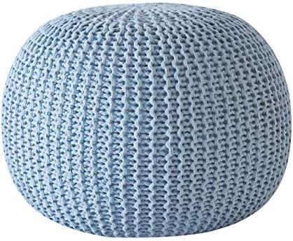 Urban Shop Round Knit Pouf – Hand Woven Cotton, Light Blue