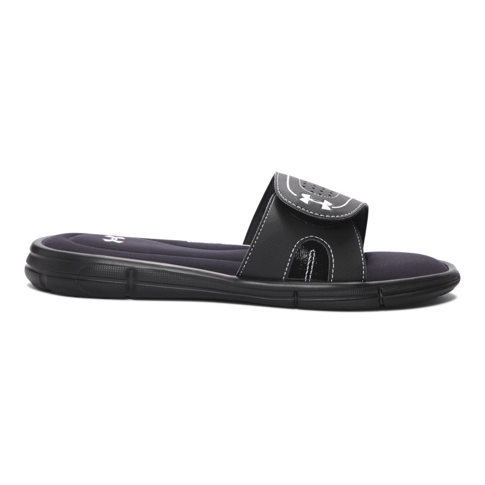 Under Armour Women's Ignite VIII Slide Sandal, Black (001)/White, 8