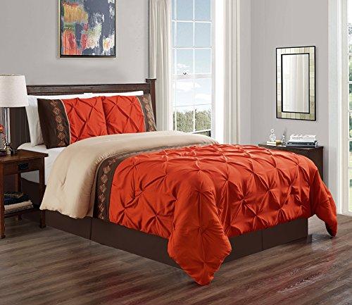 3 Piece KING size Orange / Brown Double-Needle Stitch Puckered Pinch Pleat All-Season Bedding-Goose Down Alternative Embroidered Comforter Set