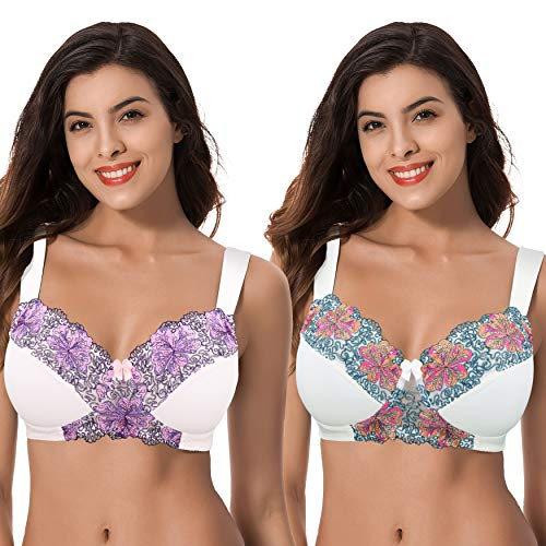 Curve Muse Womens Plus Size Minimizer Wirefree Unlined Bra with Embroidery Lace-Buttermilk,Orchid TINT-44DDDD