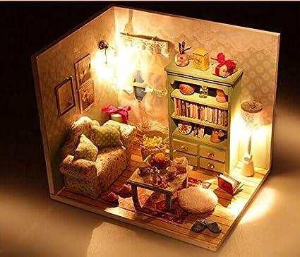 XuBa Cadeau d'anniversaire Bricolage Maison de Poup\u00e9e en Bois avec Meubles Cadeaux Dollhouse Toy, u00e9t\u00e9 Styles Paresseux Show