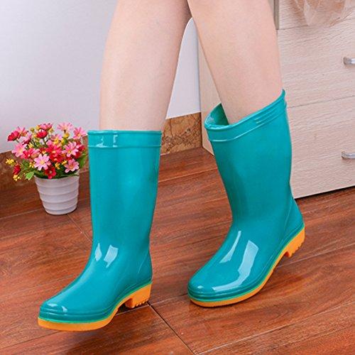 Lluvia Boots Xinwcang Impermeables Casual Botas Mujer Lluvia Verde Antideslizante de Wellington para Zapatos zCpwOTqz