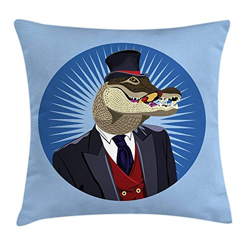 (Queolszi Alligator Throw Pillow Cushion Cover, A Portrait of a Gentlemen Crocodile in Suits and Red Vest with Retro Top Hat, Decorative Square Accent Pillow Case, 18 X 18 inches, Multicolor)