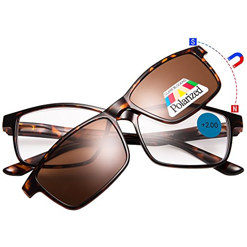 EYEGUARD Reading Glasses With A Magnetic Sunglasses Clip on Polarized Lens - Polarized Reading Glasses
