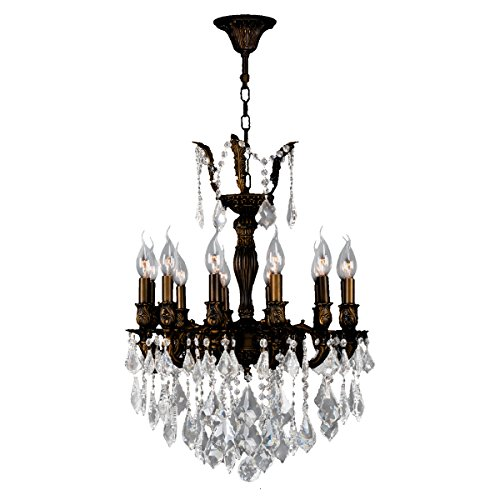 Worldwide Lighting Versailles Collection 12 Light Flemish Brass Finish and Clear Crystal Chandelier 20