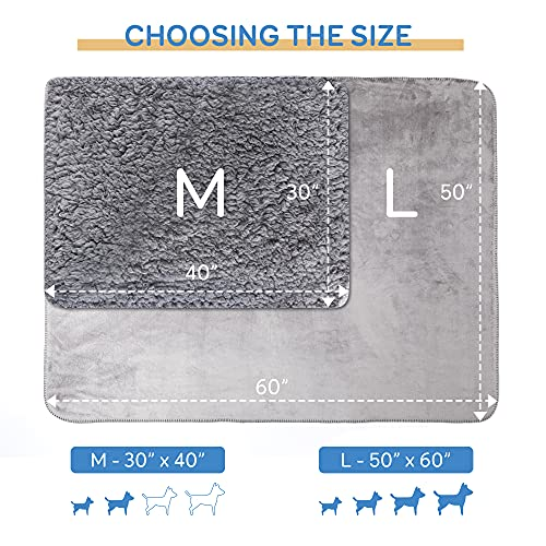 """Pawque Pet Blanket 30""""x40"""", Waterproof Sherpa Fleece Pet Blanket Soft Breathable Throw for Dog Puppy Cat, Fluffy Premium Thermal Blanket Dog Blanket for Couches, Sofa, Bed and Car, Grey"""