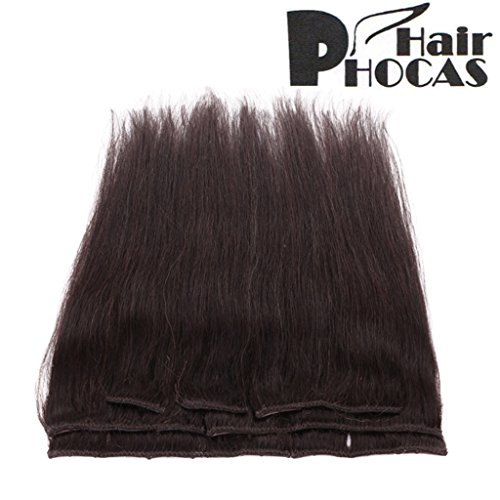 Search : HairPhocas 16 inch #2 Clip In Remy Human Hair Extensions Black Brown Color Short Real Straight Hair Style for African American Women 7 Piece 65g