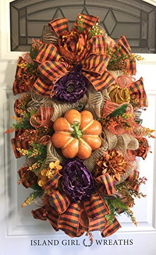 Autumn Wreath with Pumpkins and Bow