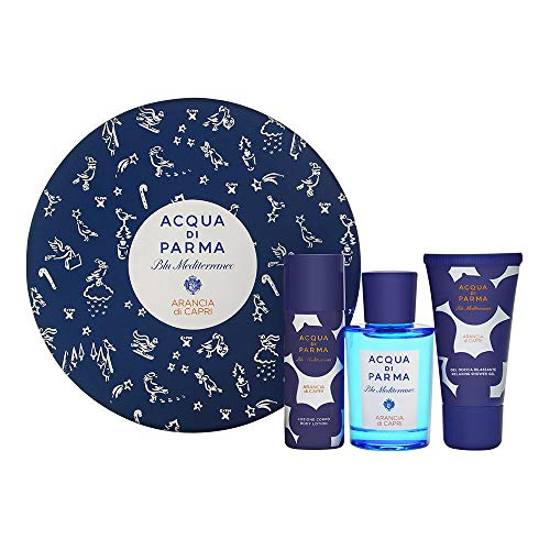 Acqua Di Parma Blu Mediterraneo Arancia Di Capri 3 Piece Set Includes: 2.5 oz Eau De Toilette Spray1.7 oz Body Lotion Spray + 2.5 oz Relaxing Shower Gel ()