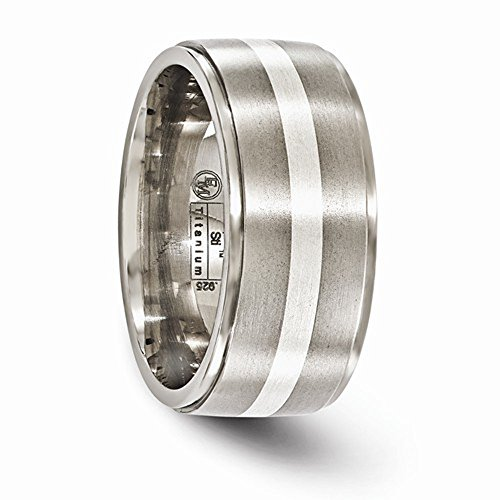 Edward Mirell Brushed and Polished Titanium with Sterling Silver Inlay 10mm Wedding Band - Size 12