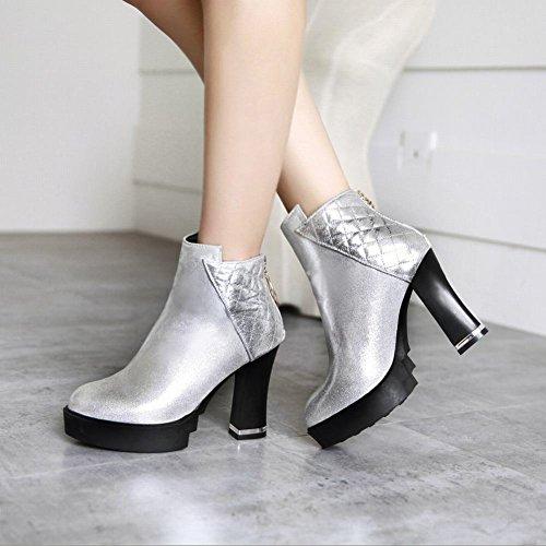 Silver Lady High Boots Zipper Dress Carolbar Short Womens Sexy Fashion Office Platform Heel P075UWpcF