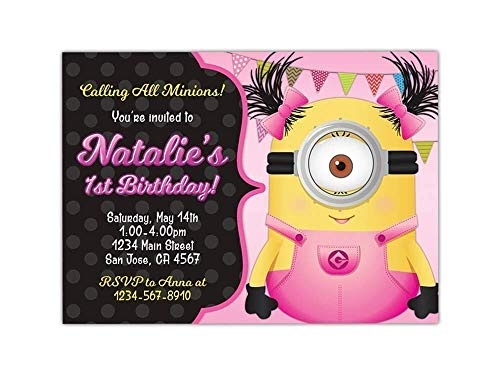 Custom Girl Minion Birthday Party Invitations for Girls, 10pc-100pc 4