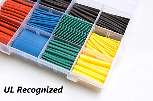 600 pcs Heat Shrink Tubing 2:1 Wire Sleeve Electrical Wire Cable Wrap Assorted Electric Insulation Sleeve Cable Wire Wrap Kit for DIY 5 Colors 8 Sizes In a Plastic Box